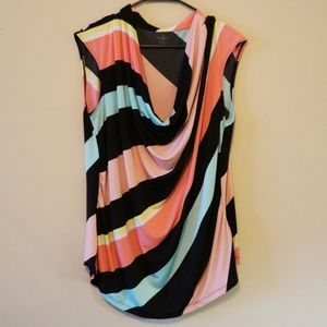 Cowl Neck Multi-Colored Stripe Top